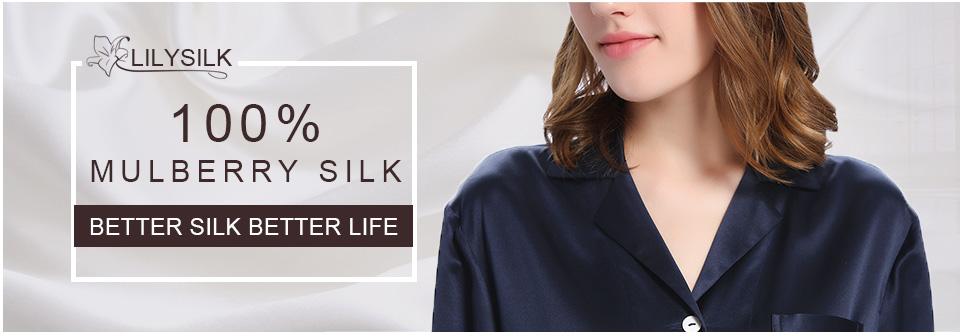 2019 Lilysilk Nightwear Women Long Sleeve Nightdress Pure Silk Pure ... 7cc892302