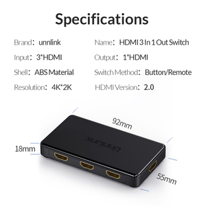 Image 5 - Unnlink HDMI Switch 3x1 5x1 HDMI 2.0 UHD4K@60Hz 4:4:4 HDCP 2.2 HDR 3 In 1 Out for smart tv mi box3 ps4pro xbox one xs projector