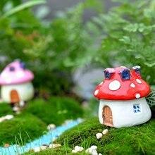 Садовый орнамент домик в виде грибов статуэтка из смолы горшок