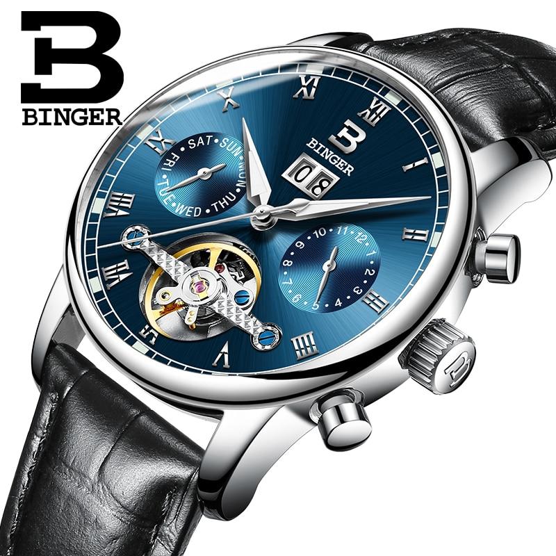 Schweiz BINGER herren uhr luxus marke Tourbillon fulll edelstahl wasserdicht Mechanische Armbanduhren B 8604 6-in Mechanische Uhren aus Uhren bei  Gruppe 2