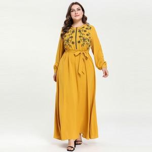 Fashion Muslim Embroidery Long Dress kaftan Abaya Zipper Front Plus size Lantern Sleeve with belt Yellow Light blue M - 4XL