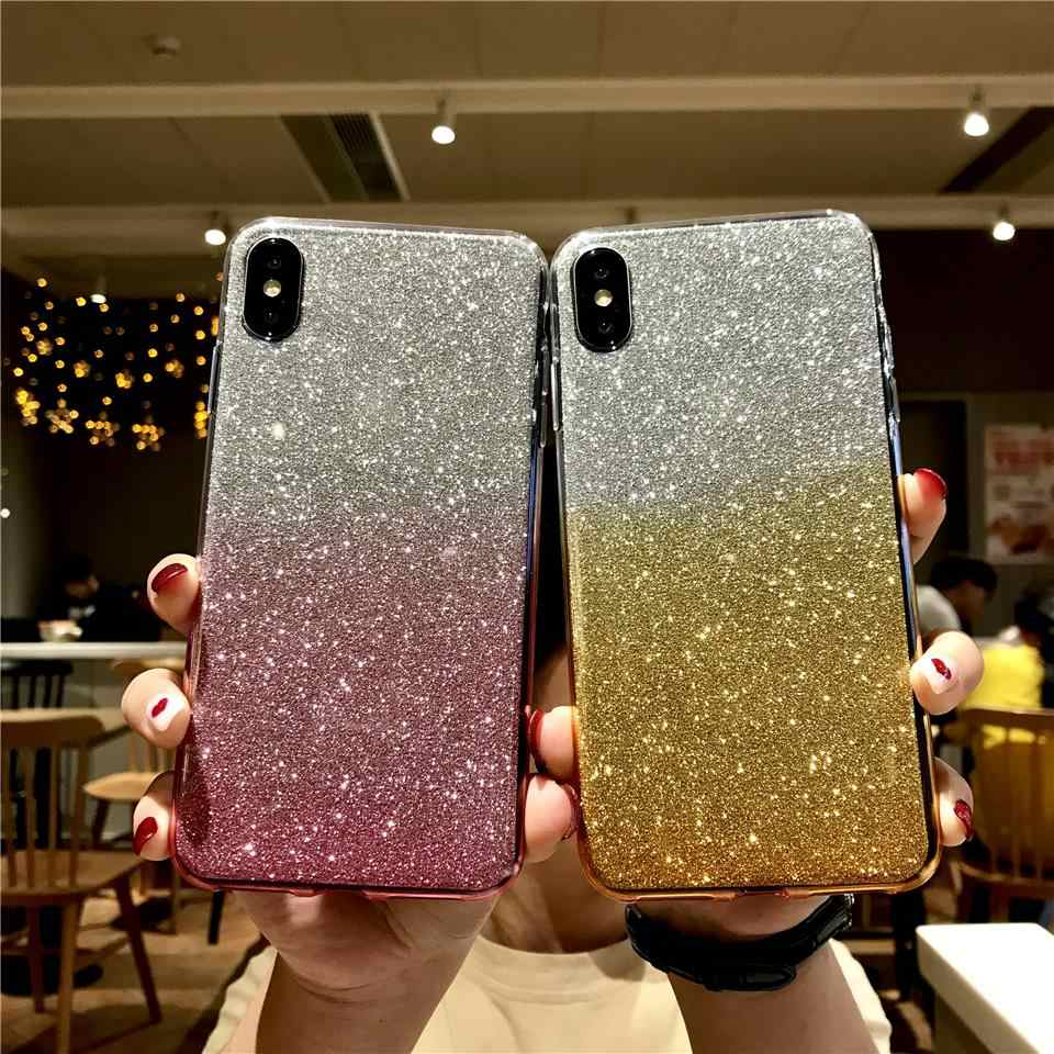 Silicone Rainbow Glitter Phone Case For iphone XS MAX XR Sony XZ Z5 C5 C6 Xperia X XA XA1 XA2 XP Ultra XR XC XZ1 XZ2 Cover Cases
