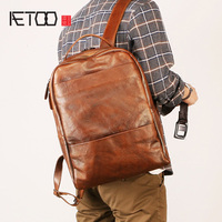 AETOO New male bag, men's leather shoulder bag, European and American retro fashion travel bag, trendy computer backpack