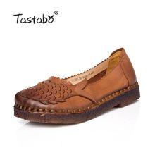 Tastabo большой Размеры женская обувь женские слипоны сплошной мелкая ручной работы реального Обувь кожаная для женщин в стиле ретро повседневные Лоферы Туфли без каблуков