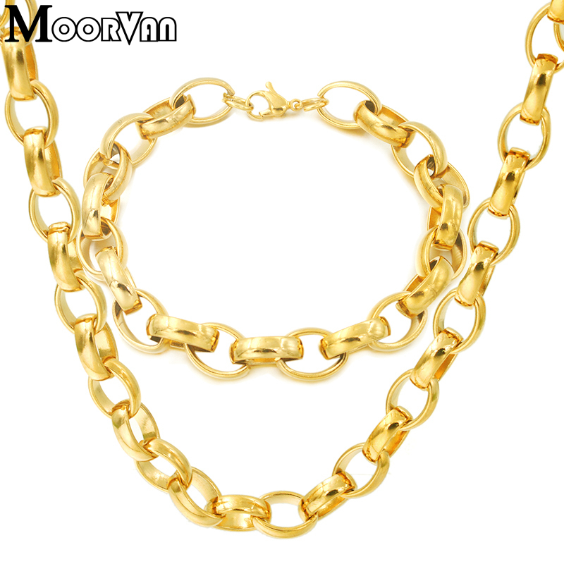 Moorvan Customed Stainless steel Necklaces bracelets jewelry Sets for women men Cool Hip Hop Circle Chains Sets