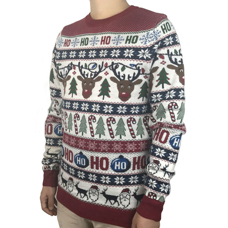 HTOOHTOOH Men Fall Slim Funny Ugly Christmas O Neck Sweater Knitwear