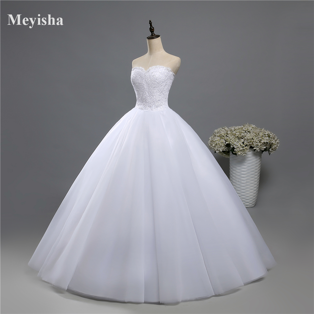 ZJ9022 Corset Lace Up 2019 Beads Strapless Crystal Sweetheart Lace White Wedding Dresses For Brides Plus Size Maxi Formal
