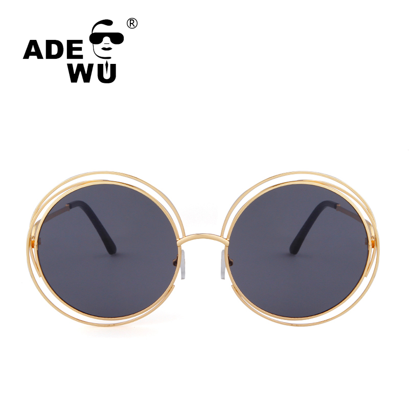 ADE WU High Quality Sunglasses Women Famous Round Vintage Retro Sunglasses Women Oversiz ...