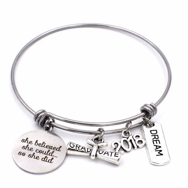 Bulk 10pcs Stainless Steel She Believed Could Cl Of 2018 Charm Bracelet Expandable Wire Bangle