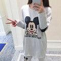 Mickey Pijamas para las mujeres Primavera y El Otoño de la Nueva Historieta Encantadora 2016 de Algodón de Las Mujeres Conjuntos de Pijamas Homewear pijamas Juego del ocio