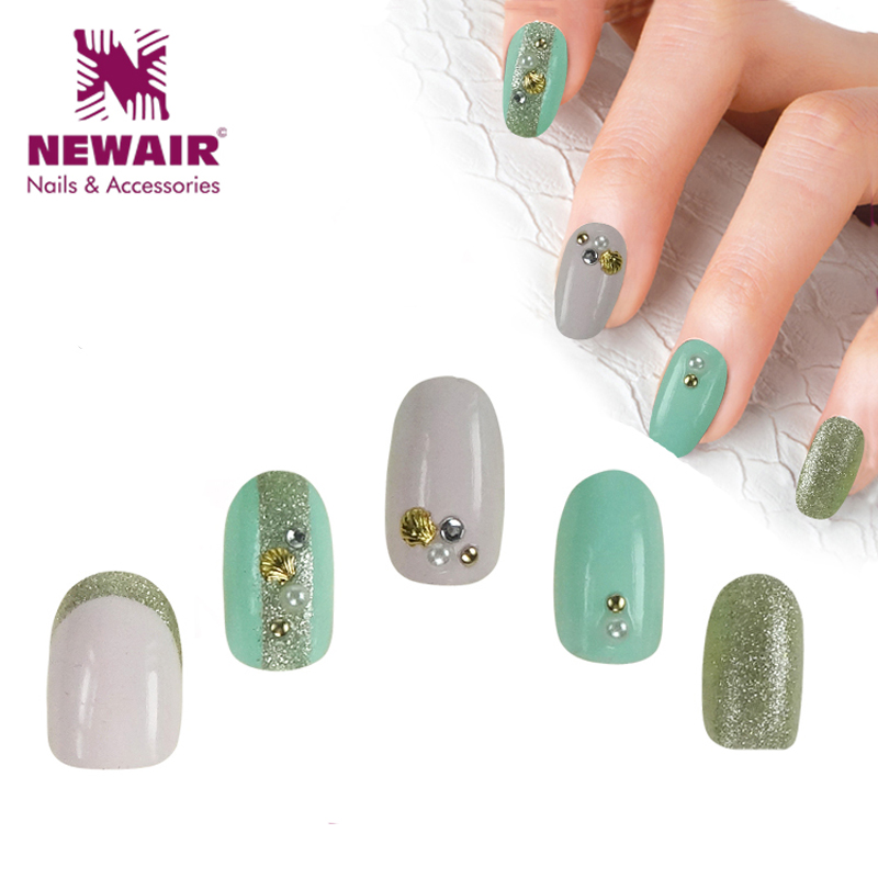Aliexpress 2017 New Arrival Oval Short Fake Nails With Glue 3d False Nail Art Tips Abs Glitter Colored Acrylic High Quality From