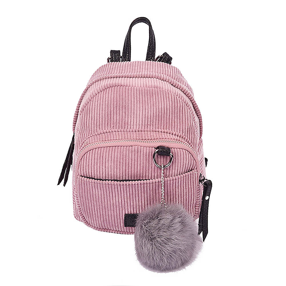 New Fashion Spring Women Corduroy Mini Backpack Girls School Bag with Plush Shoulder Bag Fur Ball Solid Color Corduroy Backpack