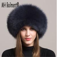 2017 Women Real Fox Fur Hat Winter Warm Thick Fur Cap Genuine Natural Fur With
