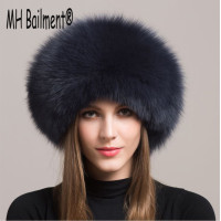 2017 Women Real Fox Fur Hat Winter Warm Thick Fur Cap Genuine Natural Fur With