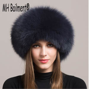 6eec23dd062 MH BAILMENT Women Real Fox Fur Winter Cap Bomber Hats