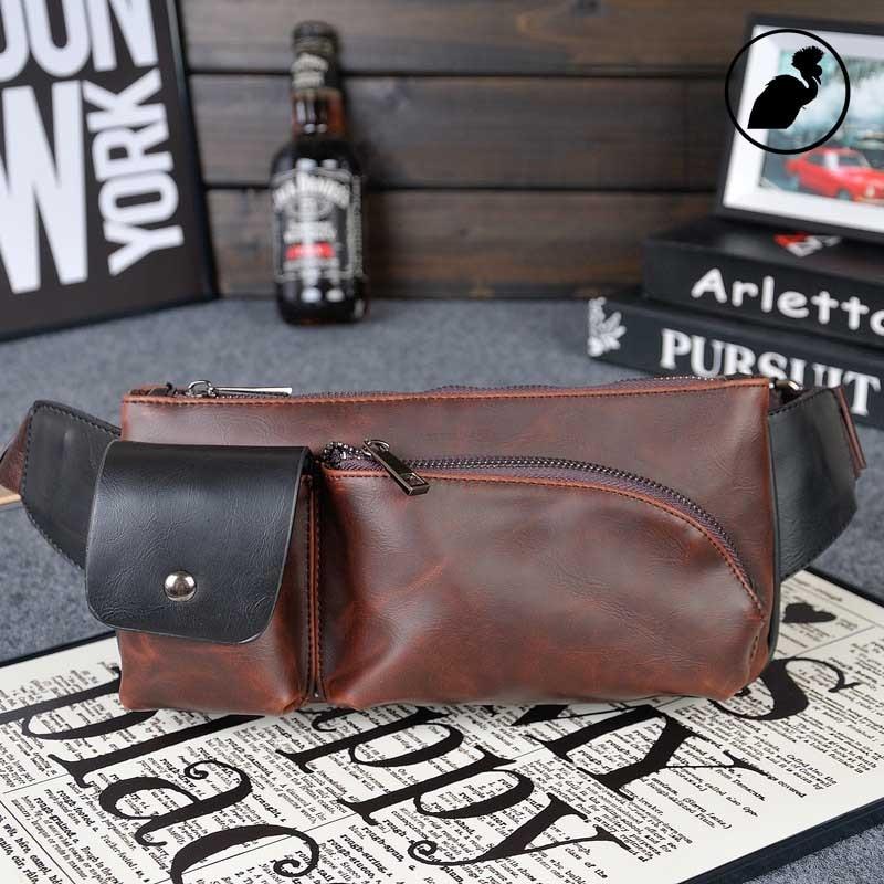 ETONWEAG Famous Brands Leather Belt Bag Men Travel Bags Brown Pocket Style Fanny Pack Crossbody Shoulder Bag Celular Waist Bag