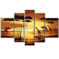 Top Artist Handmade High Quality Modern Wall Art Oil Painting on Canvas Beautiful Golden African Landscape Oil Painting