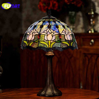 High Quality Tiffany Table Lamp Garden BLUE Tulip Bedside Decor Table Lamp Stained Glass Lamp Living