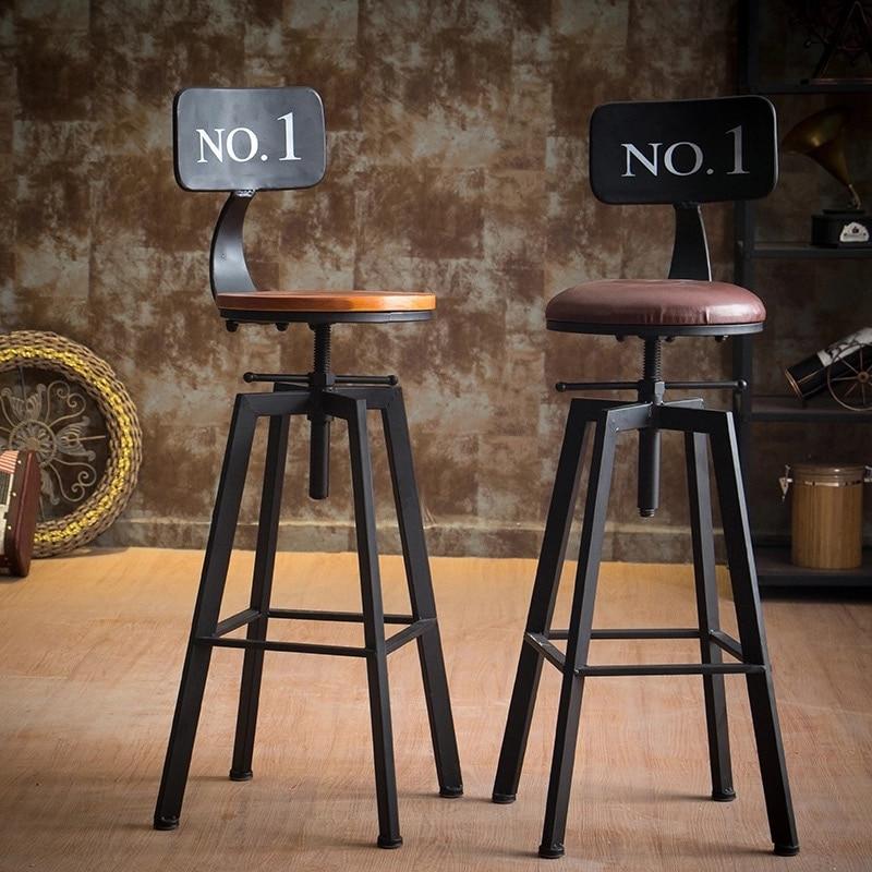 Antique Iron Industrial Rotating Bar Stool Home Lifting Bar Chair Solid Wood High Chair High Bar Stool