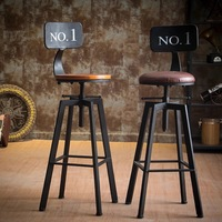 Cadeira de madeira maciça de alta cadeira de madeira maciça tamborete de barra giratória industrial de ferro antigo|Bancos para bar|   -