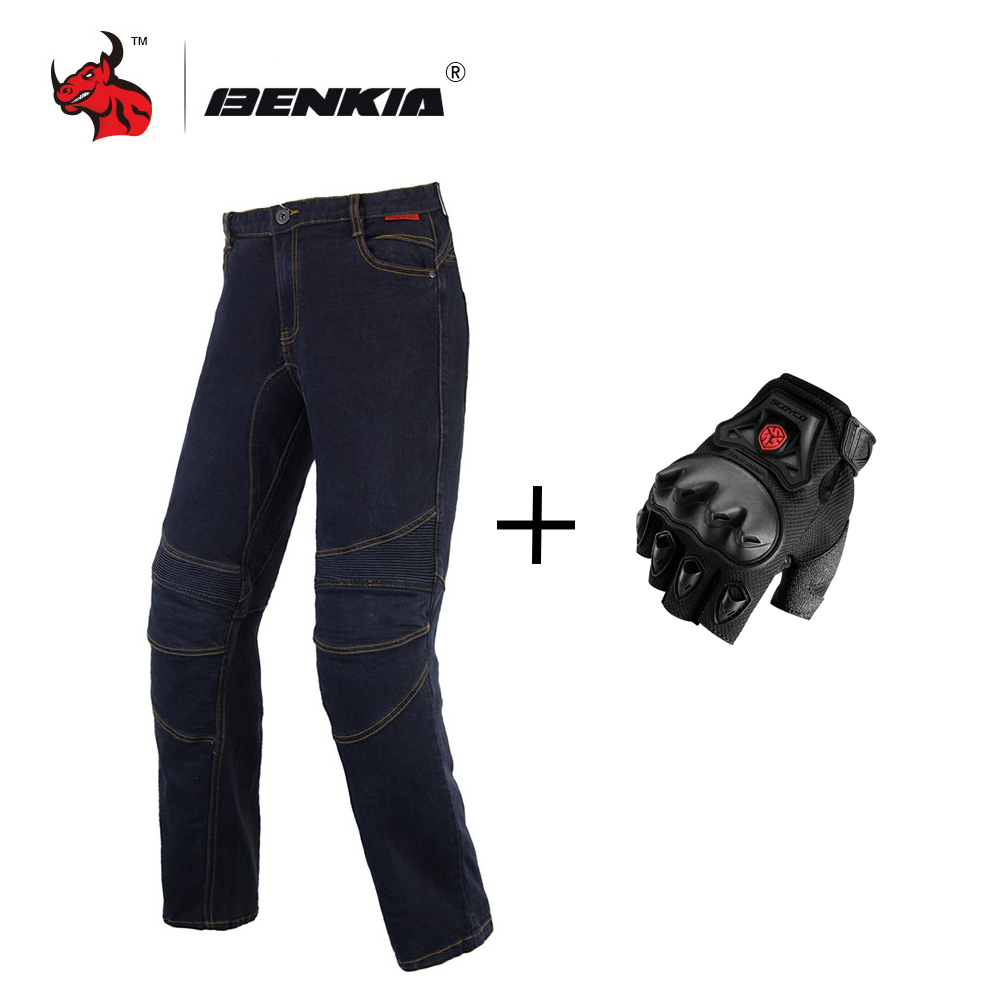 BENKIA Men's Motorcycle Racing Jeans Motorbike Motocross Off-Road Knee Protective Moto Jeans Trousers Black Pantalon Moto