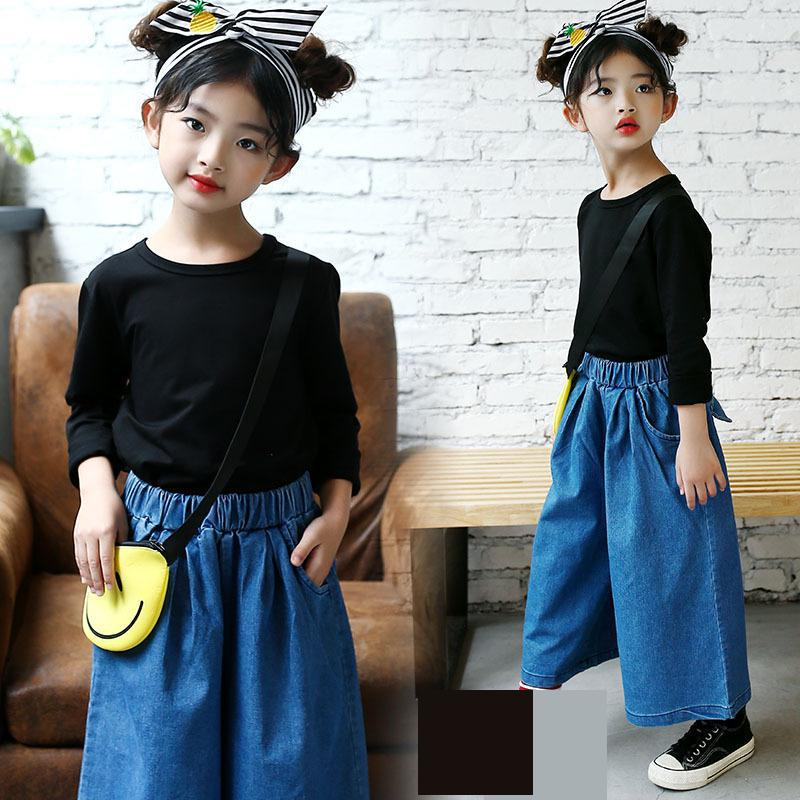 2 Pcs Kids Clothing Sets 2018 Toddler Girls Fall Autumn Teenage Children Clothes Suit T-shirts + Denim Wid Leg Pants Jeans 10 122 Pcs Kids Clothing Sets 2018 Toddler Girls Fall Autumn Teenage Children Clothes Suit T-shirts + Denim Wid Leg Pants Jeans 10 12