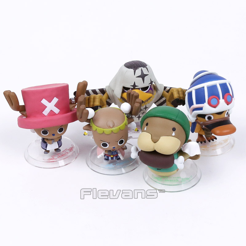 Anime One Piece Animals Tony Tony Chopper Karoo Kung fu manatee Pell Q Version PVC Figures Collectible Toys 5pcs/set 8cm Boxed japanese anime cartoon one piece tony tony chopper 2 years later pvc action figures toys 5pcs set with box
