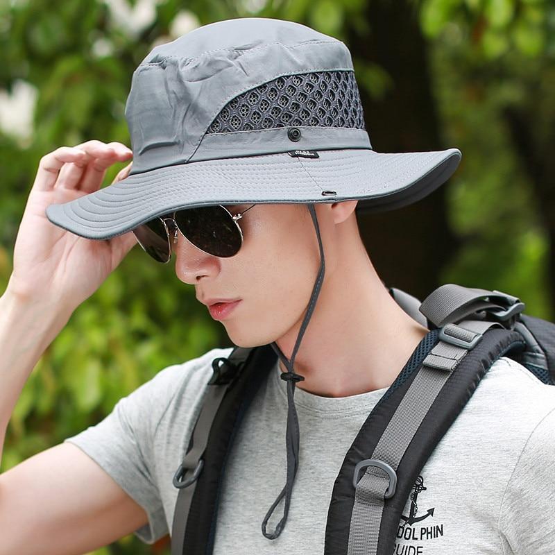 d1e0fe453ca Hombre Panama Bucket Fisher Hat Caps Mens Mesh Gorras Marine Corps Brim  Anti UV Breathable Caps Foldable Beach Visor Gorras-in Bucket Hats from  Apparel ...