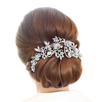 Fashion Long Flower Wedding Hair Comb Gold & Silver Clear Rhinestone Crystal Hair Accessories Women Jewelry 2
