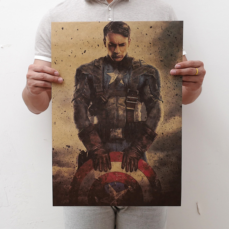 Hot Marvel Avengers Figures Toys DC Superhero Series Iron Man The Avengers Vintage Kraft Paper Home Decor Art Retro Prints