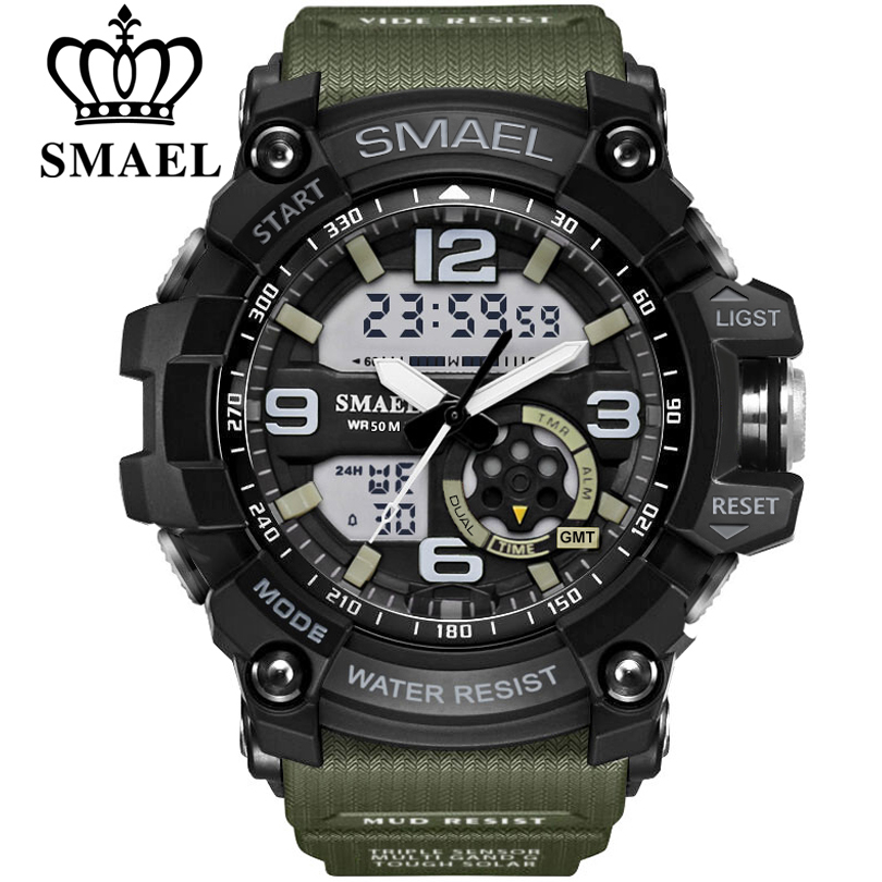 SMAEL Brand Men Sport Watch LED Digital Waterproof Casual Shock Male Clocks Relogios Masculino Men's Gift Military Wrist Watches cool led watch men analog alarm s shock led digital wrist watch mens smael watch men 1637 relogio masculino sport watch running