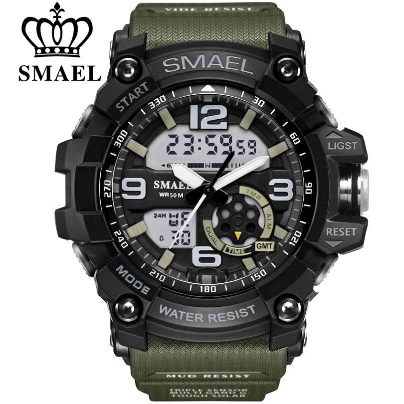 Smael marque hommes sport montre led numérique étanche choc occasionnel mâle horloges relogios masculino hommes de cadeau militaire poignet montres