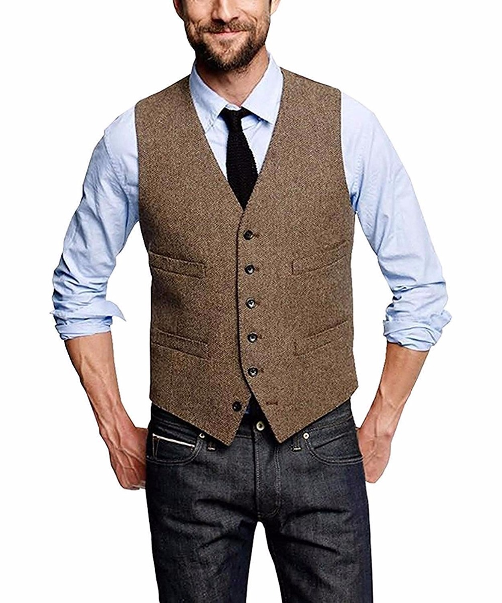 Mans Suit Vest Wool Herringbone Formal Groom's Wear Suit Vest Men's Wedding Tuxedo Waistcoat Plus Size