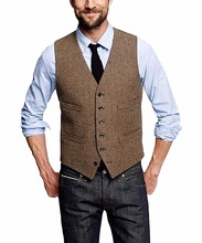 Mans Suit Vest Wool Herringbone Formal Groom's Wear Suit Vest Men's Wedding Tuxedo Waistcoat Plus Size