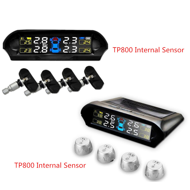 TP800 Solar Power Car Tire Pressure Monitoring System TPMS DIY Installation Wireless Tire Pressure Monitor with External Sensors