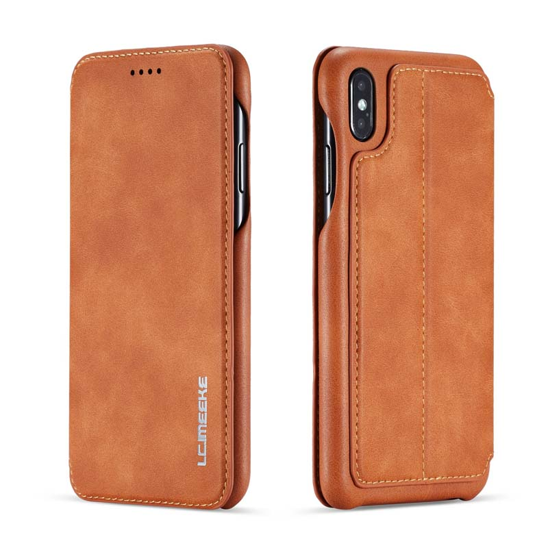 Original Flip Wallet Leather Business Retro Book Design Magnetic For <font><b>iphone</b></font> XS Max <font><b>XR</b></font> XS X 6 6S 6Plus 7 8 7Plus 8Plus JS0715 image