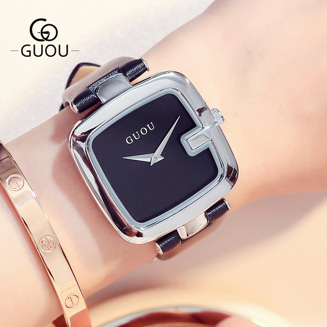 GUOU Brand Women Quartz Watches Damenuhr Belt Leather Luxury Accessories Modern Fashion Beauty Clock Wrist Watch Women's Clock   Fotoflaco.net