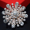 Bling Bling Clear Diamante Flower Rose Gold Plated Retail Pin Brooch Wedding Women Costume Pins Brooch