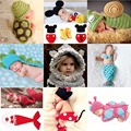 Cute Minions suit Newborn Baby Photography Prop Photo Crochet Outfits Knit Baby Pants and Hat