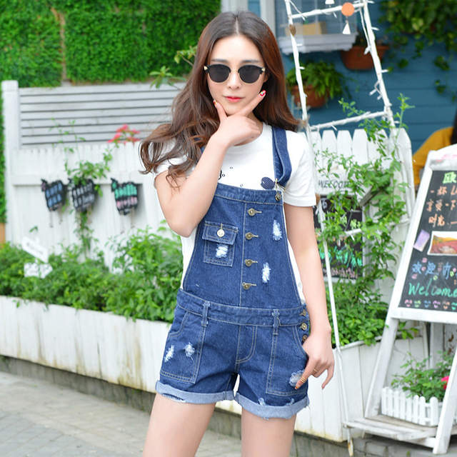 5f1e6d97404 Womens Denim Jumpsuit Overalls Girls Summer Jumpsuits Rompers Casual Strap  Hole Ripped Pockets Shorts Jeans Coverall