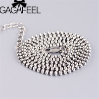 GAGAFEEL 2.5mm Round Ball Chains 925 Sterling Silver Necklaces Women Choker Necklace Fine Jewelry 50cm 60cm 65cm 70cm