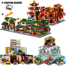 XINGBAO Genuine Building Blocks The Living House Set Building Bricks Chinatown Model Toys With Light Compatible with LOGO City 2018 xingbao 01022 3046 pcs genuine the wanfu inn set house model building blocks bricks traditional diy toys for children