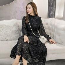 Spring Autumn Lady Long Chiffon Dress