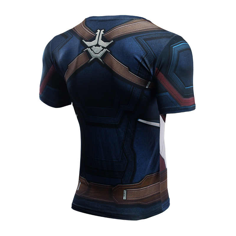 3 Captain America Avengers 3D Dicetak T shirt Pria Kompresi kemeja 2018 Komik Cosplay Lengan Pendek Tops Untuk Pria Fit kain