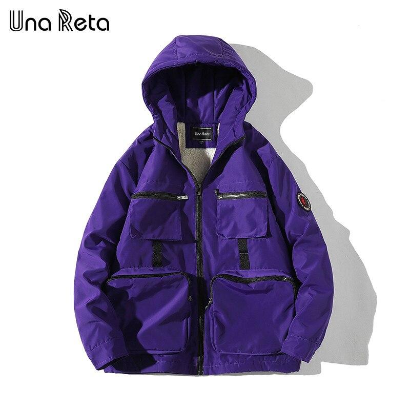 Una Reta Winter Jacket Coats Men New Casual Windbreaker Jackets Mens Parka Plus Size Hip Hop Warm Lambswool Coats Man Streetwear