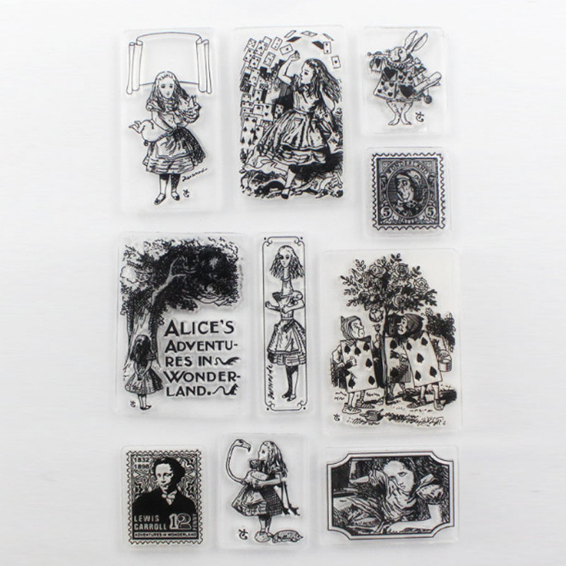 New Alice Adventures in Wonderland Scrapbooking DIY Photo Album Cards Making Silicone Rubber Transparent Clear Stamp 11*16cm carrol l alice s adventures in wonderland