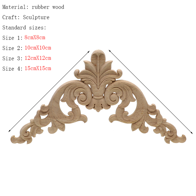 Frame Door Cabinet Decorative Figurines Wood Appliques for Furniture Unpainted Carved Corner Onlay Home Decoration Accessories 3