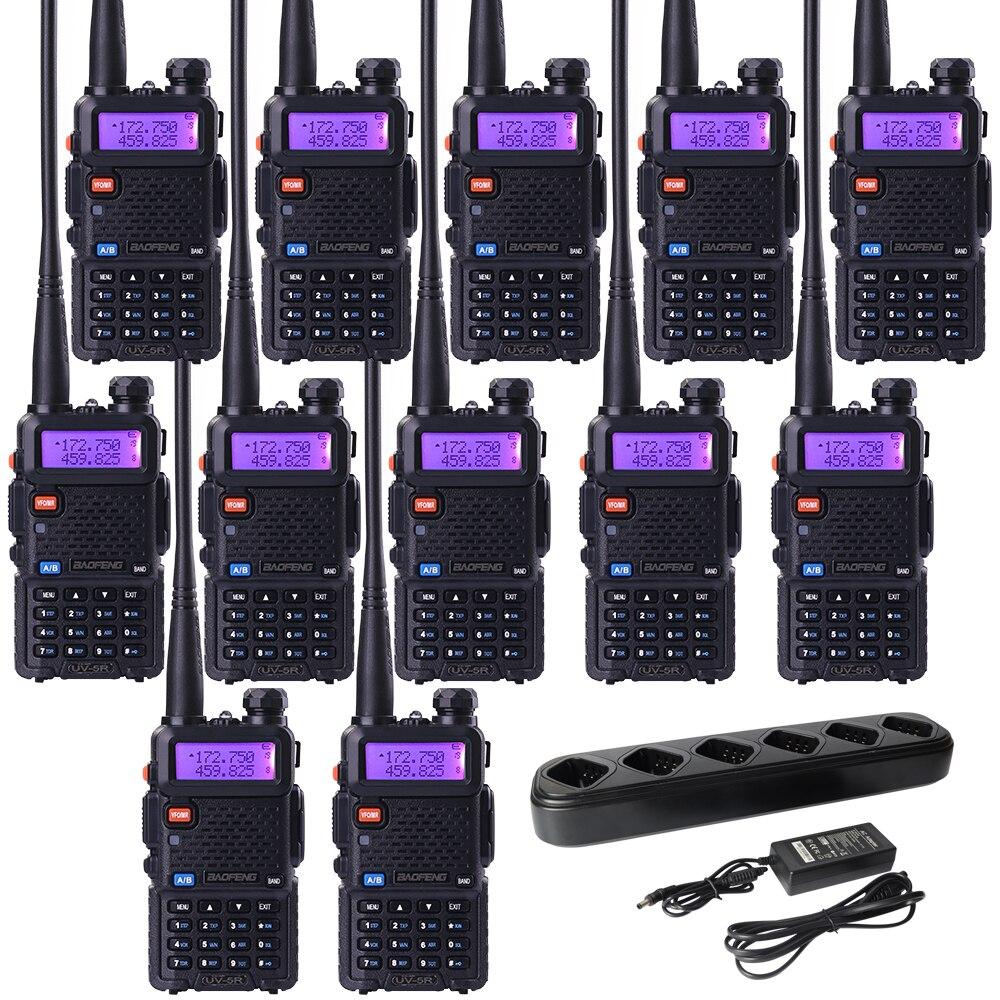 12Pcs Radios 6Way Charger UV 5R Dual Band Walkie Talkie Baofeng With 6 Way Charger 128