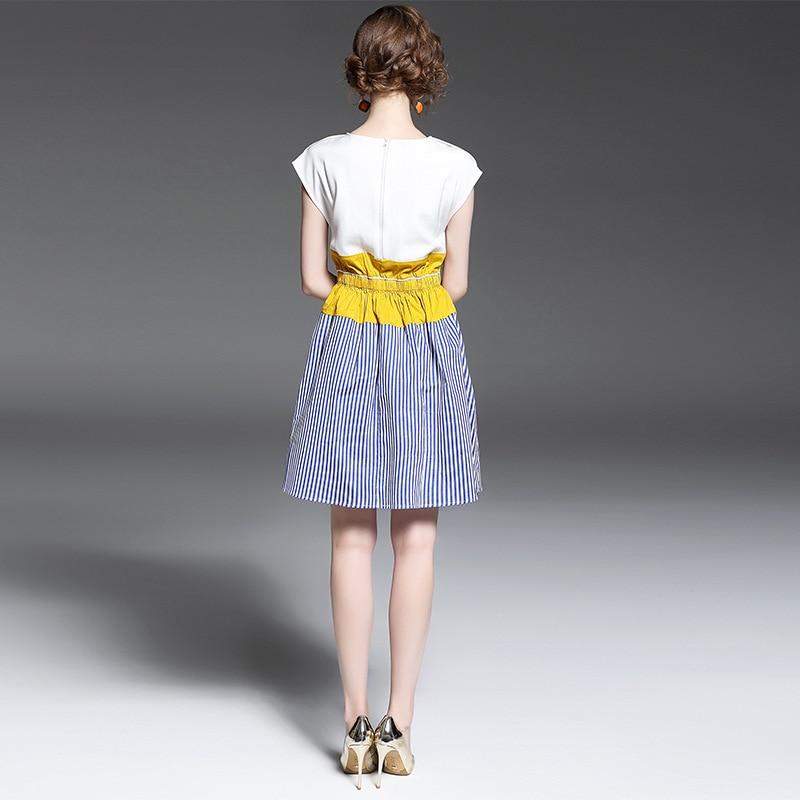 Longueur De Chart Qualité blanc Femmes Mode 2017 O Printemps cou Haute Genou Nouveau Bref Robe Patchwork See Z7xRXRqwHd