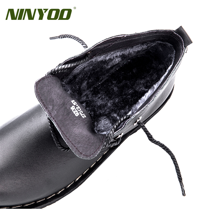NINYOO Mannen Werken Laarzen Lederen Enkellaarsjes Motorfiets Winter Laarzen Waterdichte Outdoor Cowboy Martin Schoenen Plus Size 49 50 - 2